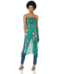 Steve Madden Tie Front Floral Poncho - Green