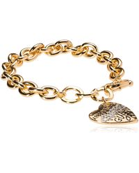 "Guess ""basic"" Gold Graffiti Logo Heart Toggle Charm Bracelet - Metallic"