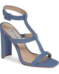 3033b16149ba Lyst - Steve Madden Bowwtye Heel Sandal in Blue