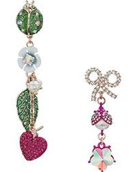 Betsey Johnson - S Ladybug And Flower Non-matching Drop Earrings - Lyst