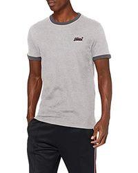 Superdry Orange Label Cali Ringer Tees Camiseta para Hombre - Gris
