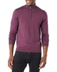 Goodthreads Merino Wool Quarter Zip Sweater Pullover - Lila