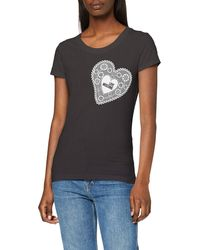 Love Moschino T-shirt_heart-shaped Doily & Logo Print - Black