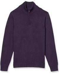 Goodthreads Soft Cotton Quarter Zip Sweater Pullover-Sweaters - Lila