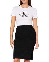 Calvin Klein - Rib Midi Skirt - Lyst