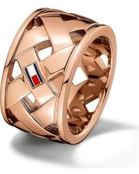 Tommy Hilfiger Ring Classic Signature Stainless Steel - Brown