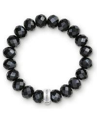 Thomas Sabo Bracelet Charm Obsidienne Argent Sterling 925, Nylon X0035-023-11 - Métallisé