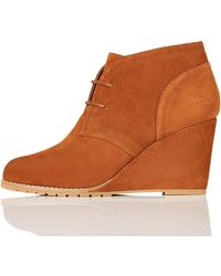FIND Lace Up Wedge Bootie Botines - Marrón