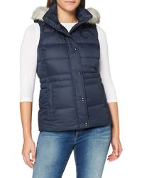 Tommy Hilfiger Th Ess Tyra Down Vest With Fur Jacket - Blue
