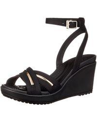 Crocs™ 'S Leigh Ii Metalblock Cross-Strap Ankle Wedge - Schwarz