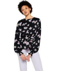 FIND Blusa Floral con Volante - Negro