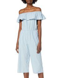 Vero Moda VMEMILIA Ruffle Drop Chambray Jumpsuit - Blau