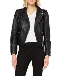 Superdry Lyla Leather Biker Jacket - Black