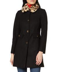 Dorothy Perkins Dp Tall Black Leopard Print Faux Fur Collar Coat