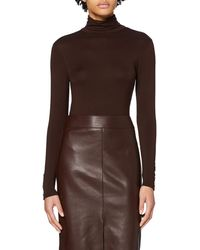 Dorothy Perkins Long Sleeve High Neck Jersey Button Cuff Top Blouse - Brown