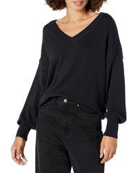 The Drop Lisa Suéter amplio suave de cuello de pico ancho Mujer - Negro