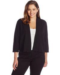 Calvin Klein Plus Size 3/4 Sleeve Shrug - Black