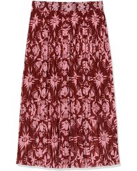 Scotch & Soda Printed Skirt With Pleats - Red