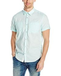 CALVIN KLEIN 205W39NYC - Jeans Short Sleeve Roll Tab Double Pocket Button Down Shirt - Lyst