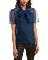 Anne Klein Sheer Organza Bow Blouse - Blue