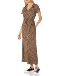 Goodthreads Georgette Ruffle-sleeve Maxi Dress - Brown