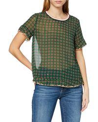 Scotch & Soda Maison Mixed Print Top With Rib Neckline Vest - Green