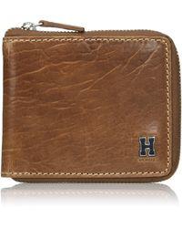 Tommy Hilfiger RFID Blocking Leather Zip Around Bifold Wallet -tan - Marron