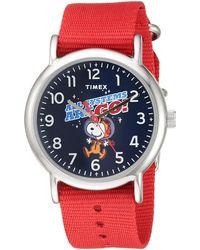 Timex - Weekender 38mm Peanuts Nasa Analog Quartz Nylon Strap, Red, 20 Casual Watch (model: Tw2t82600jt) - Lyst