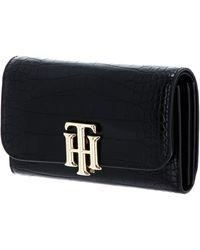 Tommy Hilfiger TH Lock Medium Flap Wallet Black Croc - Noir