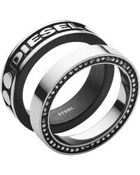 DIESEL Herren-Stapelring Edelstahl Glas '- Ringgröße 59 DX1170040-9 - Mettallic