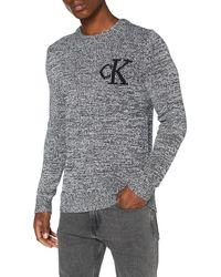 Calvin Klein Twisted Yarn Ck Logo Jumper - Grey
