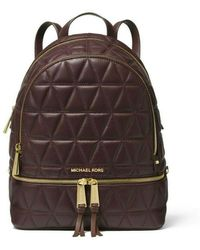 Michael Kors MICHAEL Rhea Medium Quilted Leather Backpack in Barolo - Braun