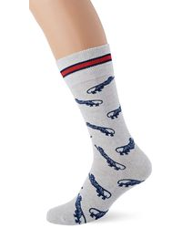 Tommy Hilfiger TH Jeans 1P Tiger Print Chaussettes - Blanc