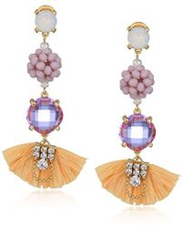 Badgley Mischka - Raffia Lavender Stone & Bead Gold Earrings, One Size - Lyst