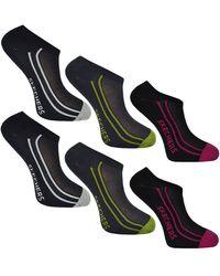 Skechers Ladies No Show Trainer Liner Socks 6 Pairs (colour C) - Blue