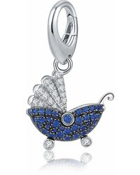 HIKARO Amazon Brand- Dangle Charms Fit Pandora Bracelets 925 Sterling Silver 18k White Gold Sparkling Blue Sapphire Pendant Charms For