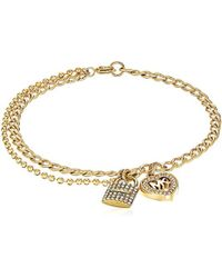 Michael Kors - S Love Is In The Air Pave Lock And Heart Double Strand Bracelet - Lyst