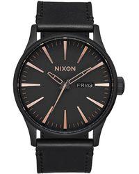Nixon Armbanduhr Sentry Leder All Black / Rose Gold - Schwarz