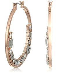 Guess - S Hoop With Floating Stones On Bottom Earrings - Lyst