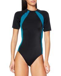 AURIQUE Amazon Brand - Women's Monokini, Black (black/maui Blue), S, Label:s
