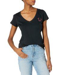True Religion Authentic Slim Fit Short Sleeve V-neck Tee - Black