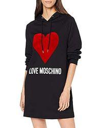 Love Moschino Logo And Heart Print_Long Sleeve Hooded Dress Vestito Donna - Nero