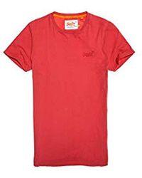 Superdry Label Lite Longline tee, Camiseta para Hombre - Rojo