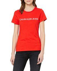 Calvin Klein Institutional Logo Slim Fit Tee T-shirt - Red