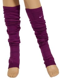 Nike Dance S Knitted Leg Warmers Knee High Length One Size In Plain Dark Pink