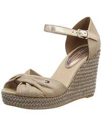 c74c1a999b4c Tommy Hilfiger Iconic Elba Metallic Canvas Women s Sandals In Beige ...