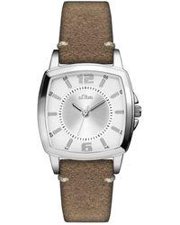 S.oliver Armbanduhr-SO-3247-LQ - Braun