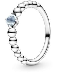 PANDORA Silber ring Aqua Blue Beaded 198598C01 - Mettallic