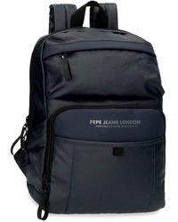 Pepe Jeans Factory Mochila para Portátil hasta 12 Pulgadas Azul 25x36x10 cms Poliéster y PU 9L