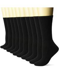 Amazon Essentials 10-pack Cotton Lightly Cushioned Crew Socks, Black, Shoe Size: 6-9